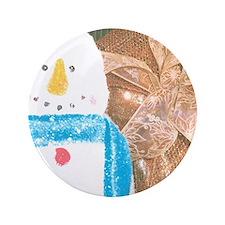 """Snowman Golden Bow. 3.5"""" Button"""