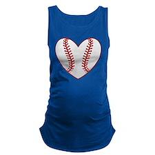 cute Baseball Heart Maternity Tank Top