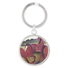 Watercolor Ponies Round Keychain