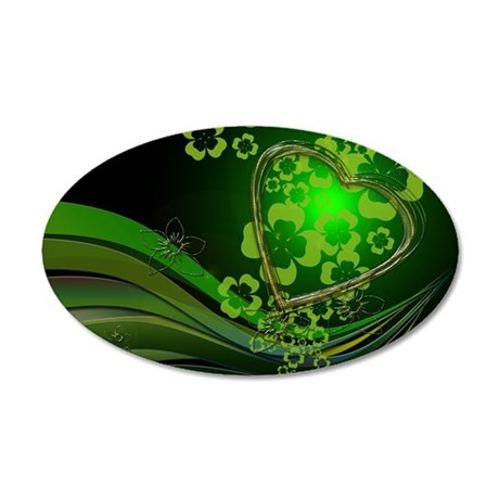 Heart And Shamrocks 20x12 Oval Wall Decal