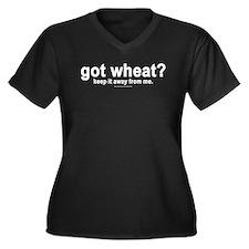 """""""got wheat?"""" Women's Plus Size V-Neck Dark T-Shirt"""