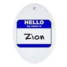 hello my name is zion  Oval Ornament