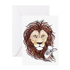 Peek-a-boo lamb with lion Greeting Card