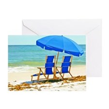 Beach, Umbrella and Chairs Greeting Card