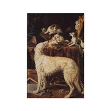 Borzoi And Cats Rectangle Magnet