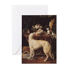 Borzoi And Cats Greeting Card