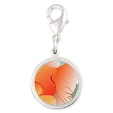 Goldfish Illustration Silver Round Charm