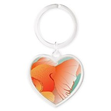 Goldfish Illustration Heart Keychain