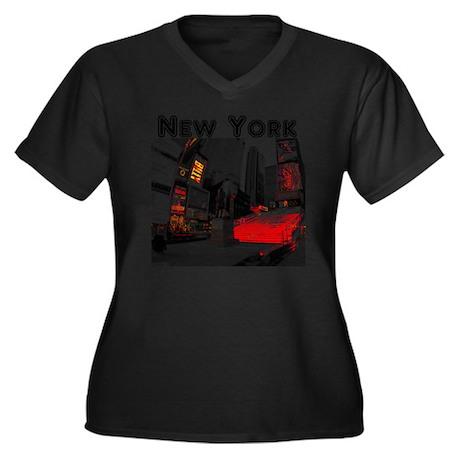 NewYork_10x1 Women's Plus Size Dark V-Neck T-Shirt