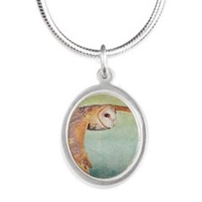 Barn Owl Silver Oval Necklace
