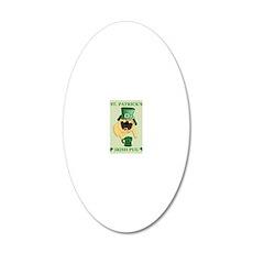 Funny St. Patricks Irish Pug 20x12 Oval Wall Decal