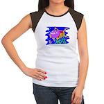 Cartoon Pirahna Women's Cap Sleeve T-Shirt
