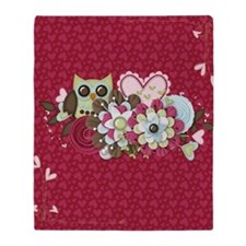 Owl Heart Flowers Throw Blanket