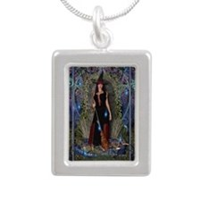 Blue Moon Witch Silver Portrait Necklace