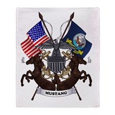 Navy Mustang Emblem Throw Blanket