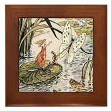 Vintage Woman Fairy Butterfly Framed Tile