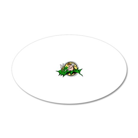Bee and fairy sitting on lea 20x12 Oval Wall Decal