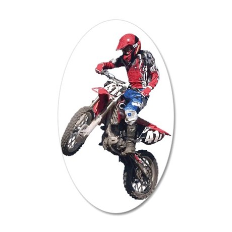 Red Dirt Bike 35x21 Oval Wall Decal