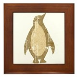 Urban Brown Penguin Framed Tile