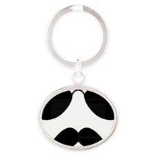 Mustache-025-A Oval Keychain