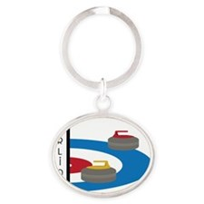 Curling Field Oval Keychain
