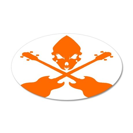 Skull and Bass Guitar Orange 35x21 Oval Wall Decal