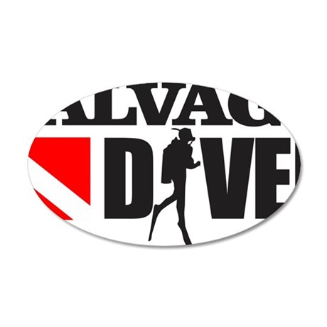 Salvage Diver 3 (black) 35x21 Oval Wall Decal