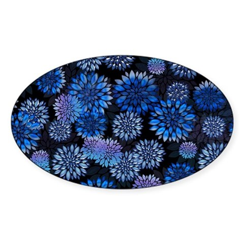 Blue Floral Collage Sticker (Oval)