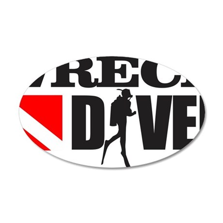 Wreck Diver 3 (black) 35x21 Oval Wall Decal