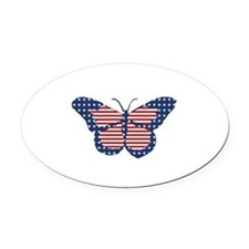 American Flag Butterfly Art Oval Car Magnet