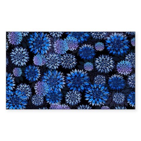 Blue FLoral Collage Sticker (Rectangle)