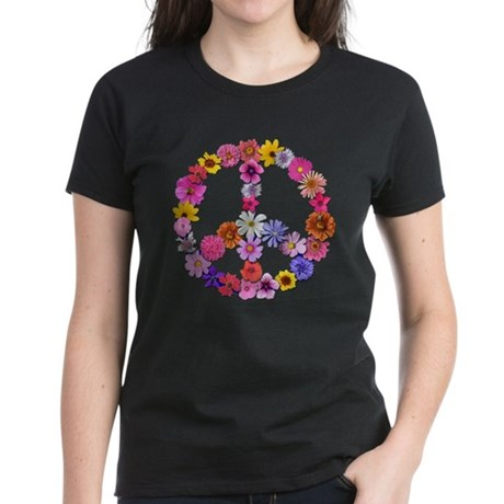Peace Flowers Women's Dark T-Shirt