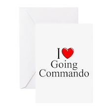 """I Love (Heart) Going Commando"" Greeting Cards (Pk"