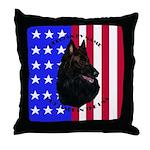 Belgian Sheepdog & Flag Throw Pillow
