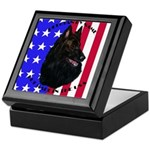 Belgian Sheepdog & Flag Keepsake Box