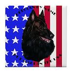 Belgian Sheepdog & Flag Tile Coaster