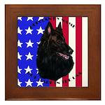 Belgian Sheepdog & Flag Framed Tile