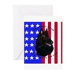Belgian Sheepdog & Flag Greeting Cards (Package of