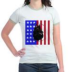 Belgian Sheepdog & Flag Jr. Ringer T-Shirt