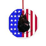 Belgian Sheepdog & Flag Ornament (Round)