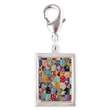Colorful Patchwork Quilt Silver Portrait Charm