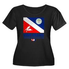 Dive Bel Women's Plus Size Dark Scoop Neck T-Shirt