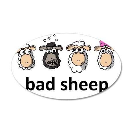 Bad sheep 35x21 Oval Wall Decal