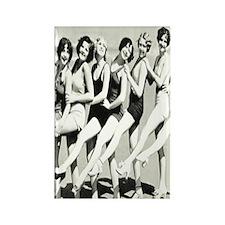 Vintage Women Beach Postcard Rectangle Magnet