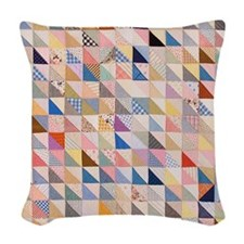 Vintage Triangles Patchwork Qu Woven Throw Pillow
