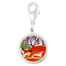 sleeping fox Silver Round Charm