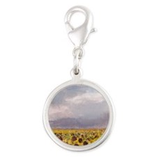 Field of Sunflowers Silver Round Charm