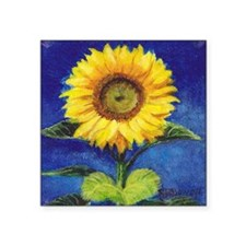 "Solitary Sunflower Square Sticker 3"" x 3"""
