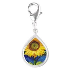 Solitary Sunflower Silver Teardrop Charm