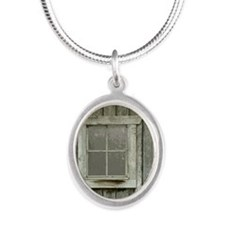 Old wood cabin Silver Oval Necklace